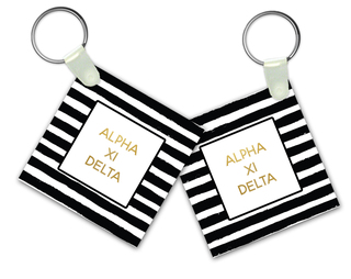 Alpha Xi Delta Striped Gold Keychain