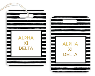 Alpha Xi Delta Striped Gold Luggage Tag