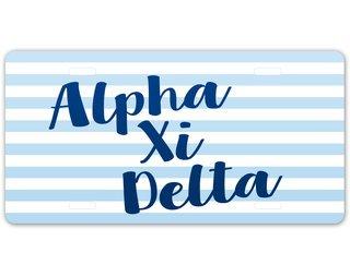 Alpha Xi Delta Striped License Plate