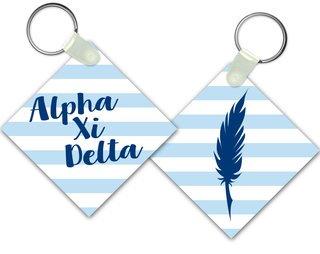 Alpha Xi Delta Striped Mascot Keychain