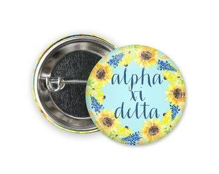 Alpha Xi Delta Sunflower Button