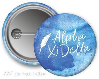 Alpha Xi Delta Watercolor Script Button