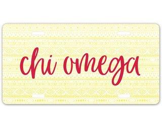 Chi Omega Aztec License Plate