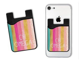 Chi Omega Bright Stripes Caddy Phone Wallet