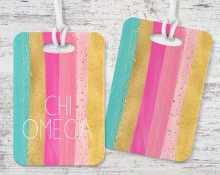Chi Omega Bright Stripes Luggage Tag