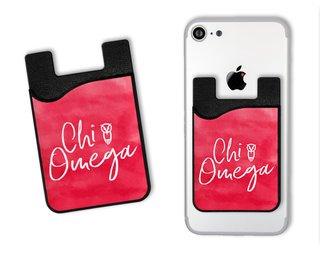 Chi Omega Watercolor Caddy Phone Wallet