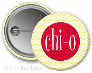 Chi Omega Chevron Monogram Button