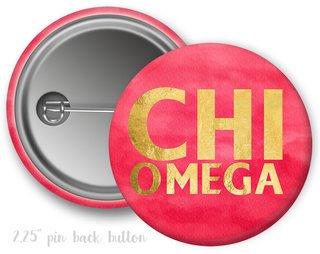 Chi Omega Faux Foil Button