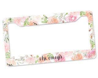 Chi Omega Floral License Plate Frame