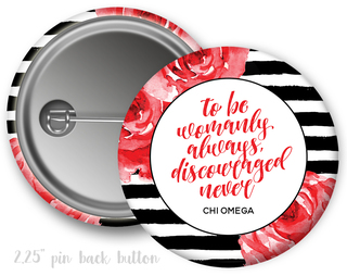 Chi Omega Floral Motto Button