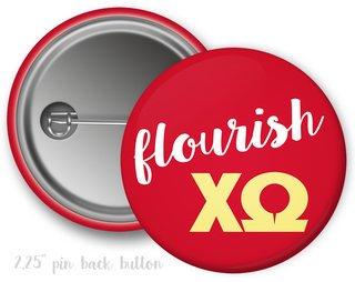 Chi Omega Flourish Button