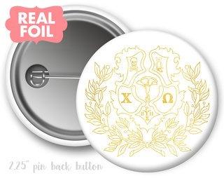 Chi Omega Foil Crest - Shield Button