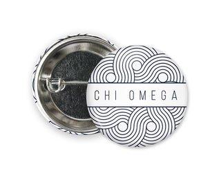 Chi Omega Geo Scroll Button Pin