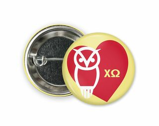Chi Omega Heart Owl Button