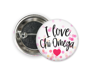 Chi Omega I Love Heart Bursting Button