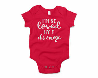 Chi Omega I'm So Loved Baby Outfit Onesie