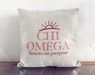 Chi Omega Linen Sun Pillow