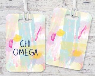 Chi Omega Pastel Strokes Luggage Tag
