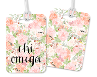 Chi Omega Personalized Pink Floral Luggage Tag