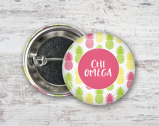 Chi Omega Pineapples Button