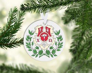 Chi Omega Round Acrylic Crest - Shield Ornament