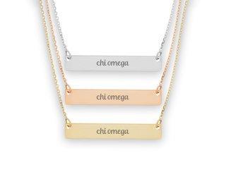 Chi Omega Script Bar Necklace
