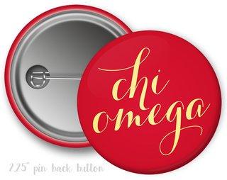 Chi Omega Script Button