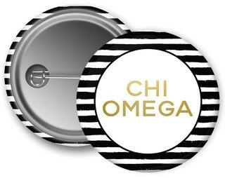 Chi Omega Striped Button
