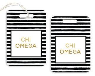 Chi Omega Striped Gold Luggage Tag