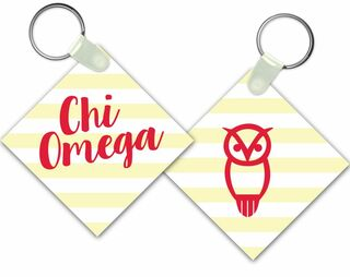 Chi Omega Striped Owl Keychain