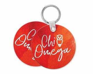 Chi Omega Watercolor Keychain