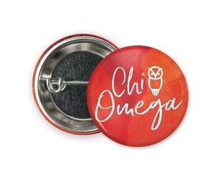 Chi Omega Watercolor Script Button