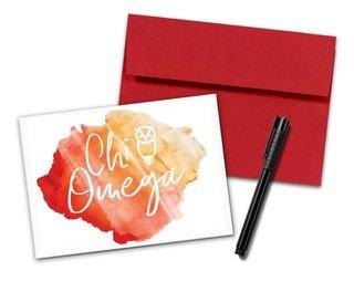 Chi Omega Watercolor Script Notecards(6)