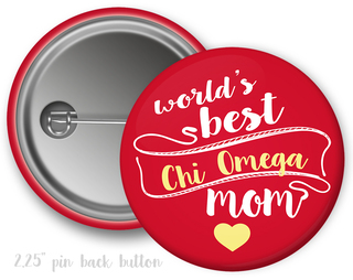 Chi Omega World's Best Mom Button
