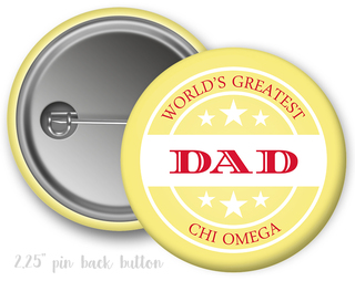 Chi Omega World's Greatest Dad Button