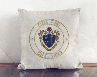 Chi Phi Crest Linen Pillow