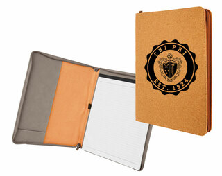 Chi Phi Leatherette Zipper Portfolio with Notepad