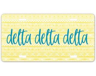 Delta Delta Delta Aztec License Plate