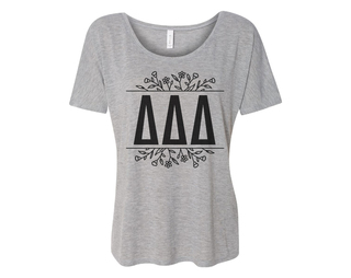 Delta Delta Delta Floral Letters Flowy Tee