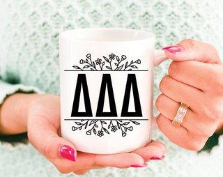 Delta Delta Delta Floral Letters Mug