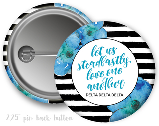 Delta Delta Delta Floral Motto Button