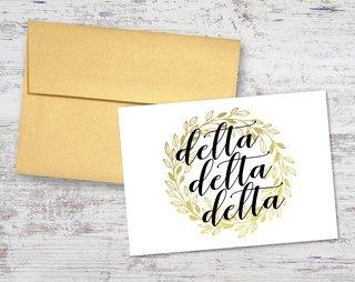 Delta Delta Delta Gold Wreath Notecards(6)