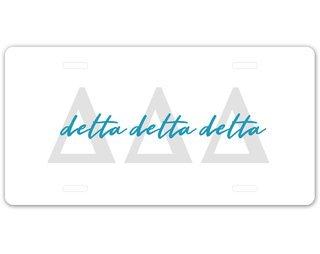 Delta Delta Delta Letter Script License Plate