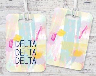 Delta Delta Delta Watercolor Luggage Tag