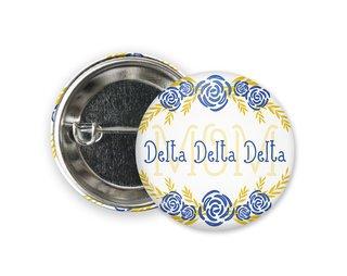 Delta Delta Delta Mom Floral Button