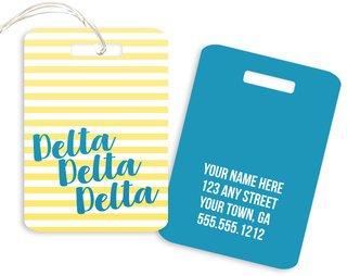 Delta Delta Delta Personalized Striped Luggage Tag