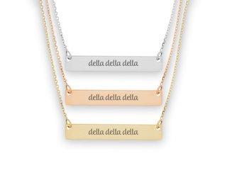 Delta Delta Delta Script Bar Necklace
