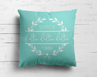 Delta Delta Delta Since Established Pillow