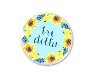 Delta Delta Delta Sunflower Car Coaster