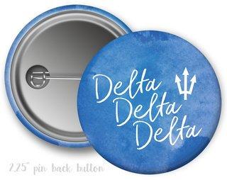 Delta Delta Delta Watercolor Script Button
